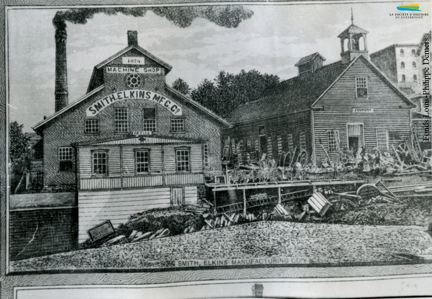 Un dessin représentant les installations de la Smith Elkins Manufacturing Company, vers 1886. L'usine est située entre la rue Bank et la rivière Magog.