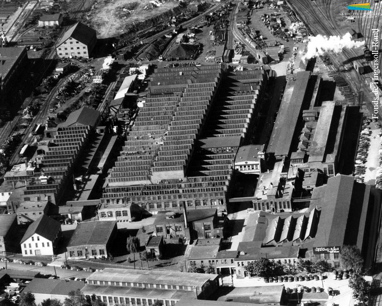 Le complexe industriel de la <em>Rand</em>, vu des airs, années 1950.