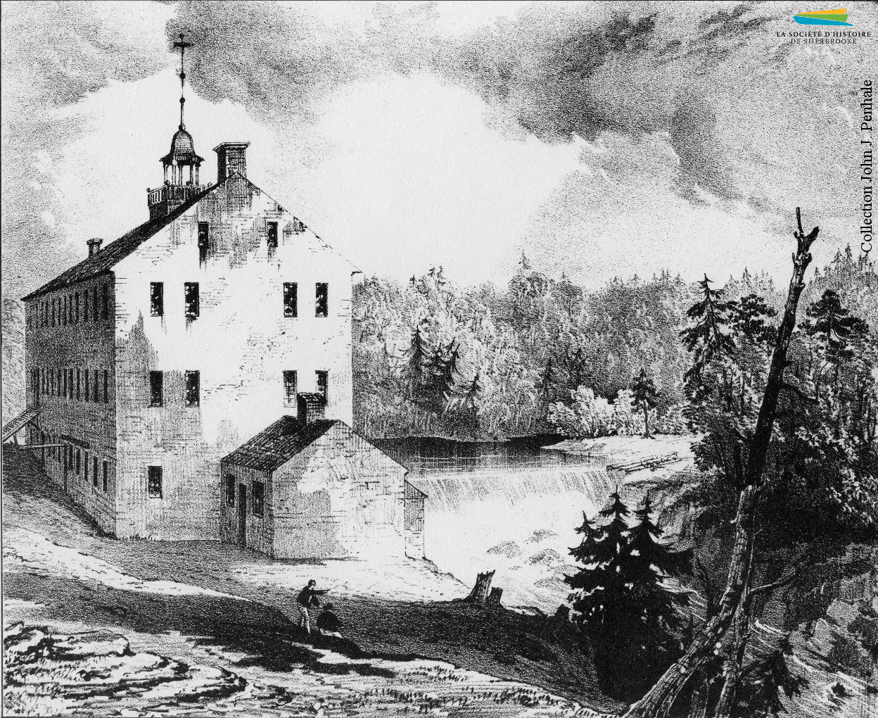 La première fabrique de tissus de laine de Sherbrooke, vers 1836. Ouverte par le marchand Charles Goodhue en 1827, entièrement mécanisée, elle est vendue à la <em>British American Land Company</em> en 1834, et ferme ses portes en 1837.