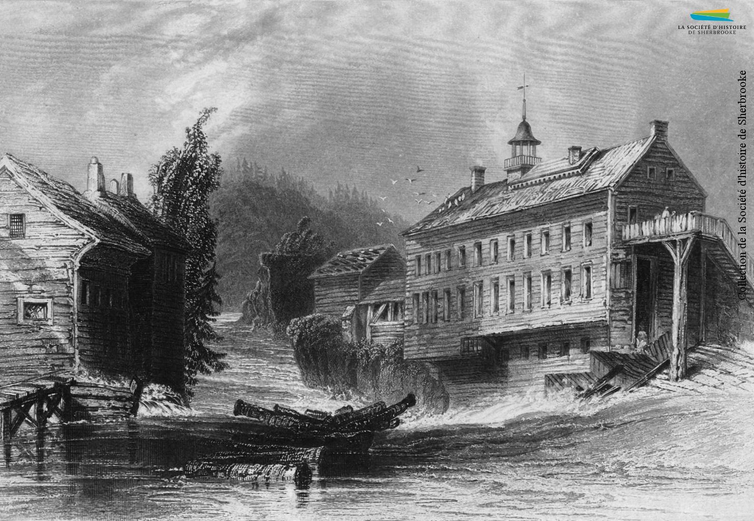 Une gravure de la fabrique de laine de Charles Goodhue, vers 1830. Elle est située près du confluent des rivières Magog et Saint-François, proche de l'actuel pont Gilbert-Hyatt.