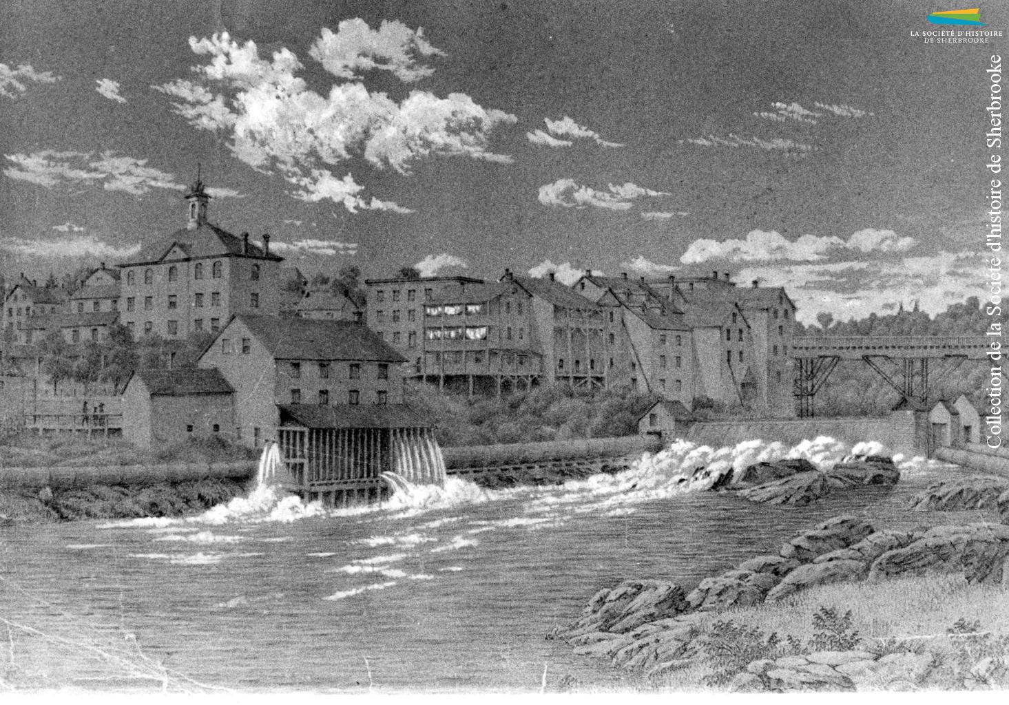 Sherbrooke vers 1860. Le moulin à l'avant-plan se trouve sur le site du premier moulin à farine de Gilbert Hyatt, construit en 1802. Le bâtiment à l'arrière est l'ancien hôtel de ville, là où se trouve celui d'aujourd'hui.