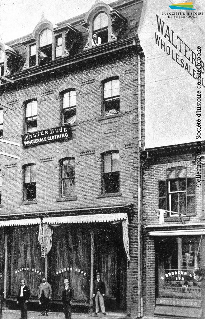 La fabrique de vêtements de Walter Blue, en 1890, au coin des rues King Ouest et Grandes-Fourches.