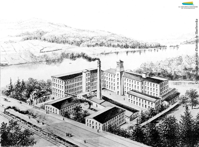 Une vue sur le complexe Paton, la rue Belvédère, la voie ferrée et la rivière Magog, en 1890.