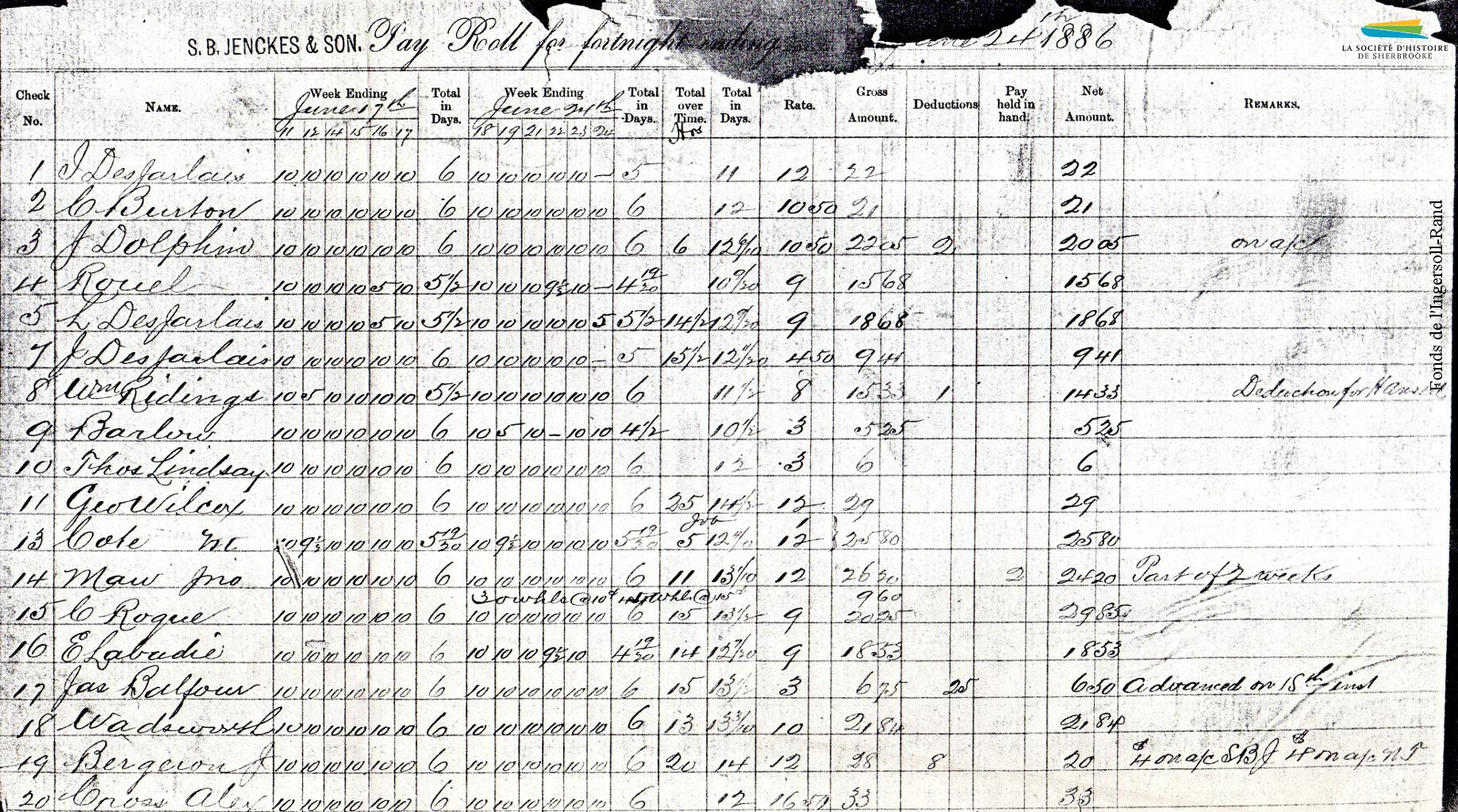 Une copie de la liste de paie de la Jenckes Machine Co. en 1886. On y voit le nombre d'heures travaillées par jour, le nombre de jours par semaine, le temps supplémentaire, le taux horaire et le salaire versé pour deux semaines de travail. Un ouvrier travaille 145 heures en 14 jours (72,5 heures par semaine), pour un salaire de 29 $, soit 20 cents de l'heure.