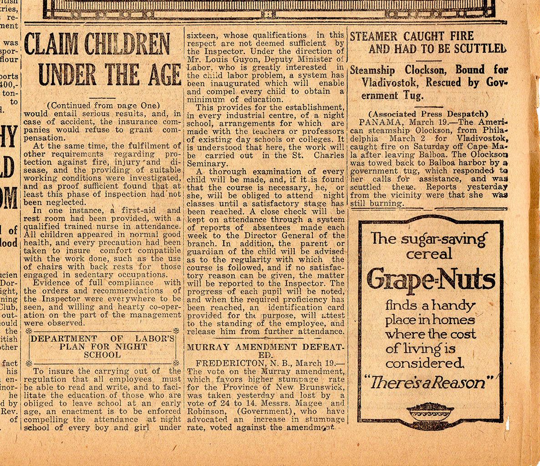 En 1907, une loi interdit aux enfants de moins de 14 ans de travailler en usine. Mais la loi est-elle respectée? Certains à Sherbrooke disent que non, et les journaux mènent leurs propres enquêtes. Un « manque de preuve » fait dire au journaliste du <em>Daily Record</em> que de telles violations de la loi ne se produisent pas à Sherbrooke.