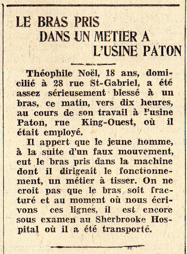 Une jeune ouvrier de la Paton, âgé de 18 ans, se coince un bras dans une machine. Il a de la chance : son bras n'est pas fracturé.