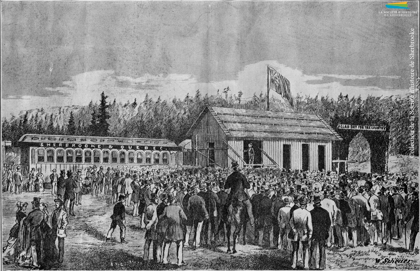 Gravure représentant l'inauguration de la ligne entre Sherbrooke et Westbury du Sherbrooke, Eastern Townships and Kennebec Railway, le 7 novembre 1874. Ce projet, porté par le maire Joseph Robertson, relie Sherbrooke au canton de Weedon, puis se rend ultimement jusqu'à Lévis.