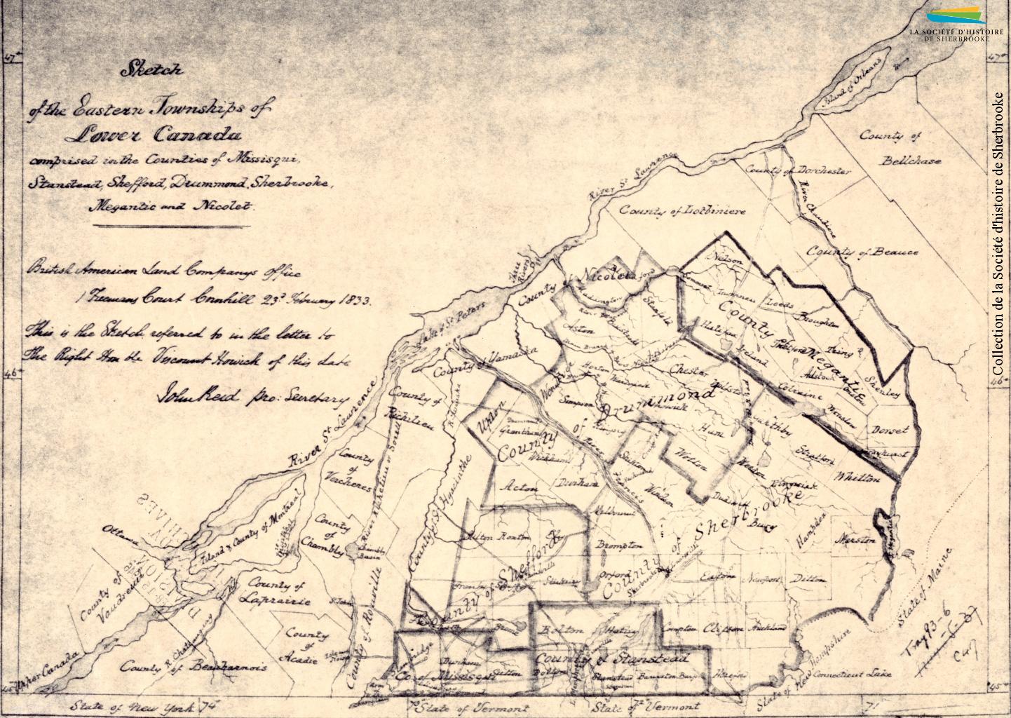 Un dessin des Cantons-de-l'Est et de ses différents comtés, produit par la BALCo en 1833. À gauche et en haut on voit le fleuve Saint-Laurent, et les comtés limitrophes des Cantons-de-l'Est.
