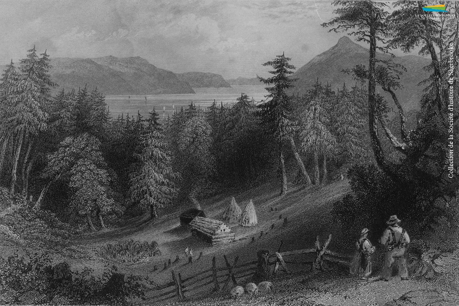 Une gravure représentant une famille de colons dans les Cantons-de-l'Est, réalisée entre 1839 et 1842. Leur origine n'est pas précisée, mais ce sont de tels colons – des Américains – qui s'installent à partir de 1793 dans les cantons d'Ascot puis d'Orford, sur le lieu qui deviendra le village puis la ville de Sherbrooke.