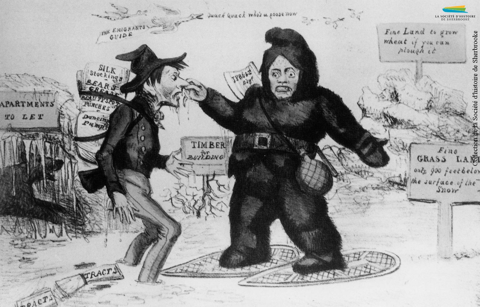 Une caricature datant des années 1820, intitulée « The Emigrants' Guide ». Les autorités britanniques encouragent alors ceux qui le veulent à venir s'installer au Bas-Canada, mais certains trouvent que la réalité est bien loin des promesses...