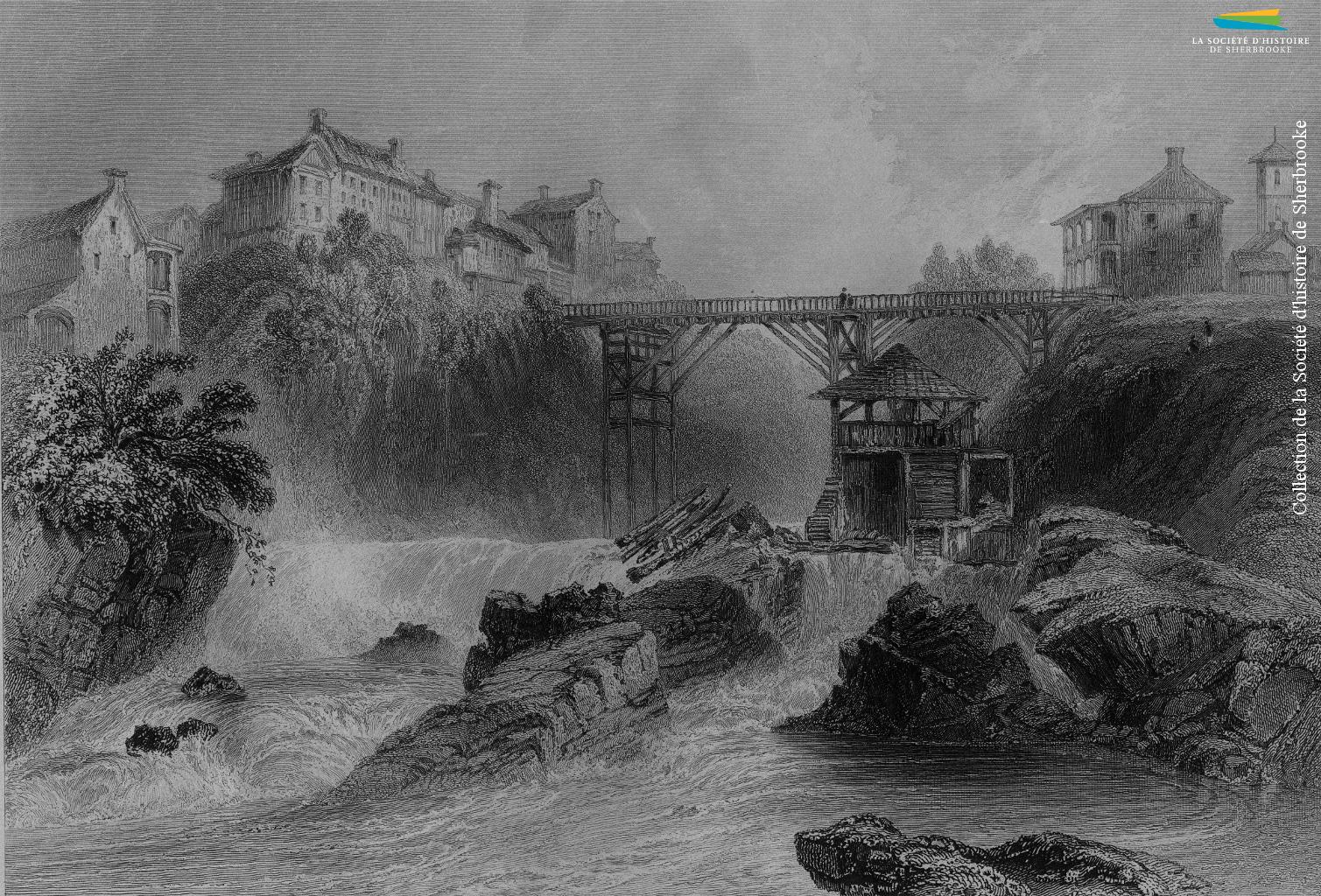 Le pont de la rue Dufferin, vu depuis le confluent des rivières Magog et Saint-François, représenté par W.H. Bartlett vers 1840. Sherbrooke en est au début de son développement industriel, mais attire déjà certains ouvriers d'origine britannique dans ses quelques moulins et fabriques.